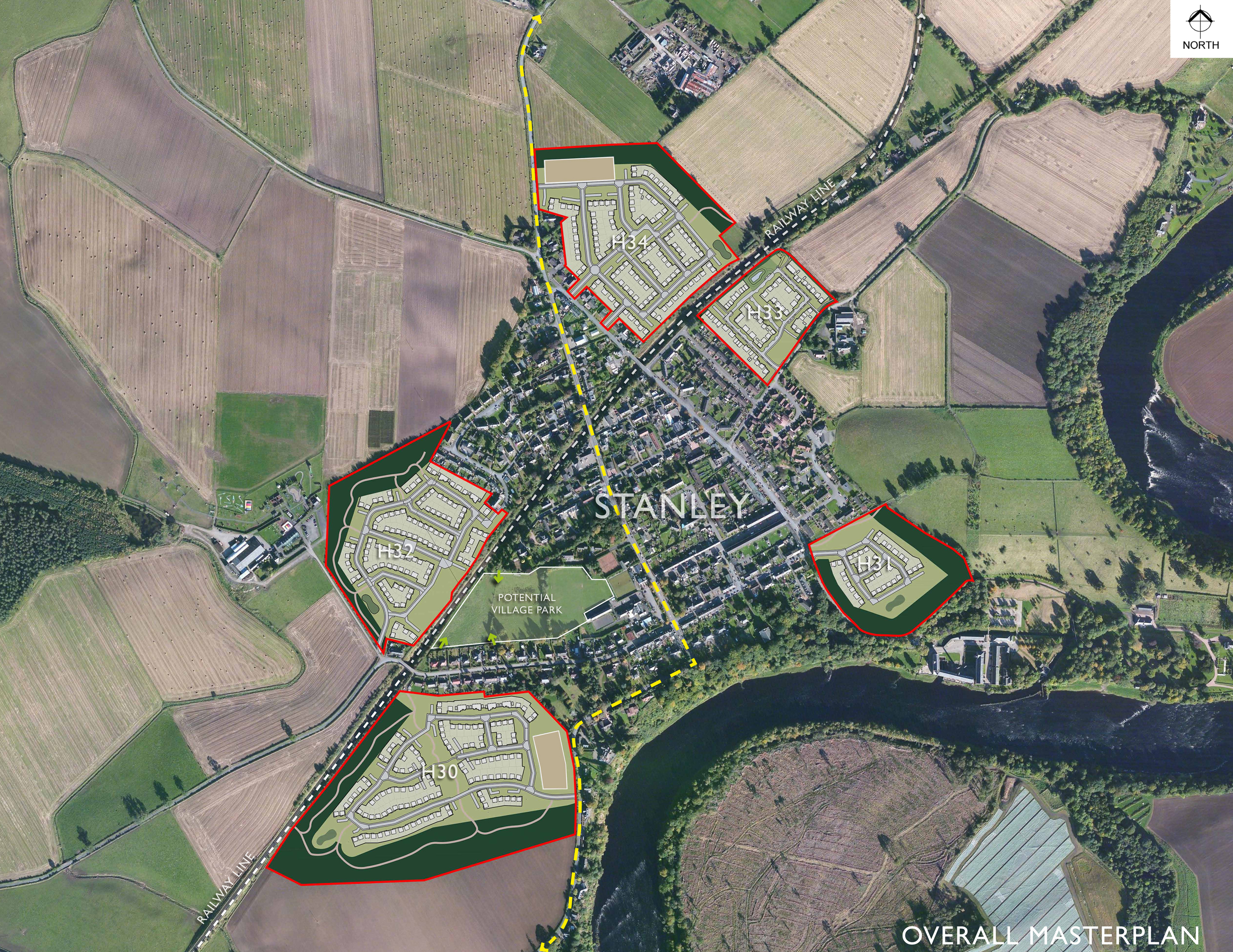 Muir Homes masterplan will see homes built on five sites - linked by public roads - around Stanley. Over 14 years, that could see the village's population double. Image: Muir Homes.