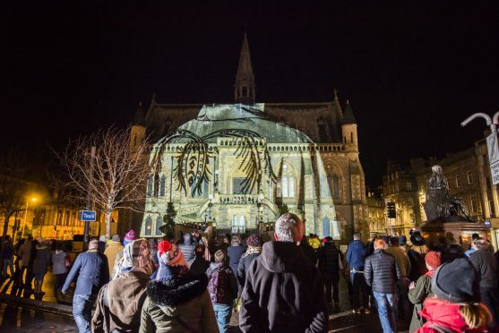 A crowd witnessed a spectacular show of art, light and sound at The McManus.
