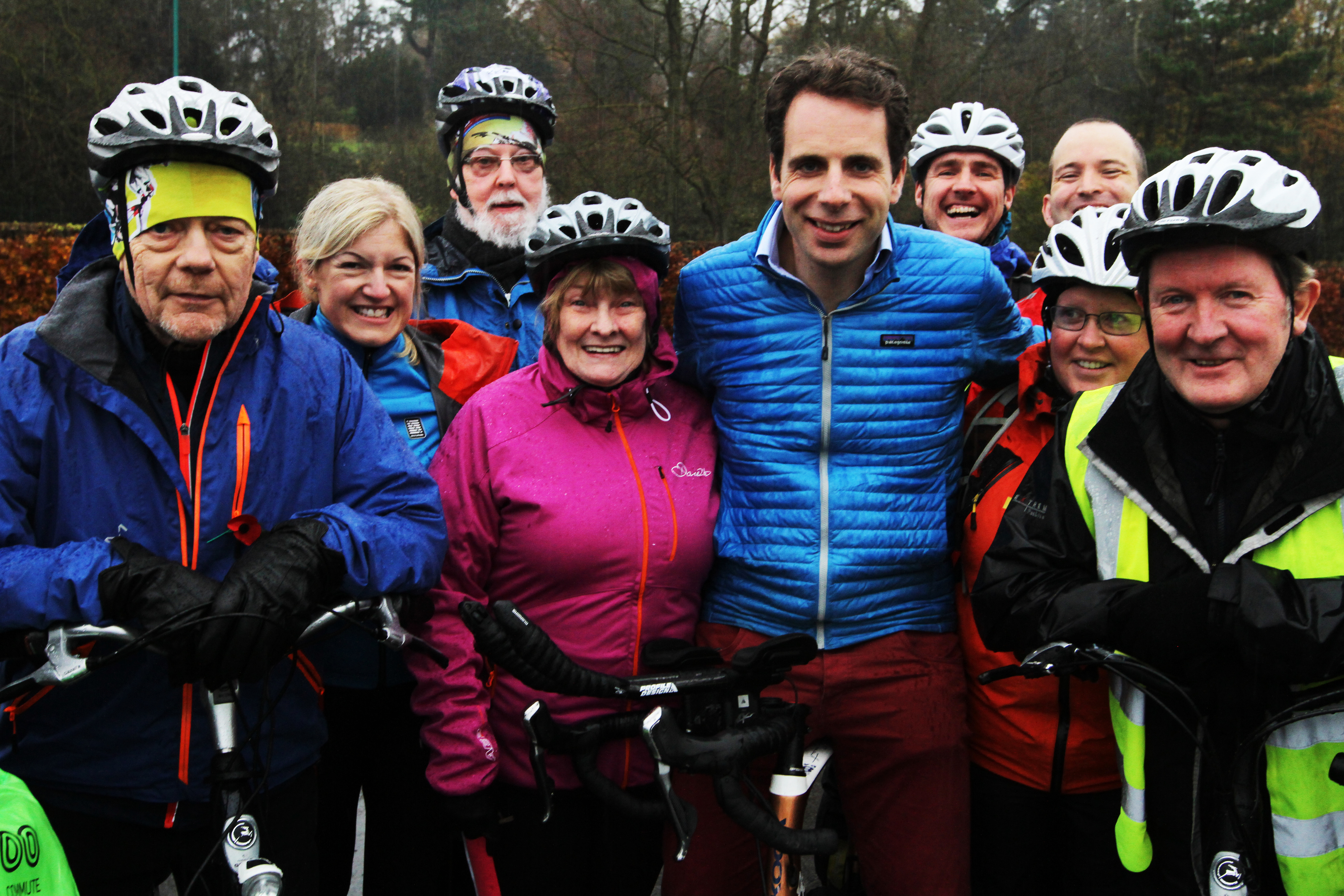 Mark Beaumont with some of the participating senior cyclists.