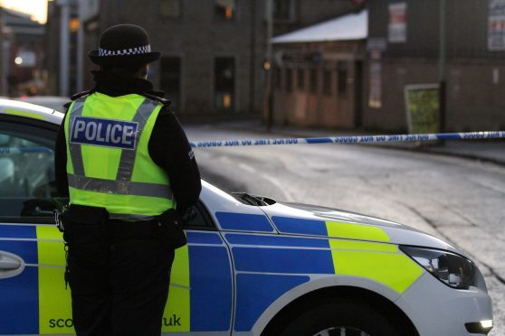 A police cordon put up after the alleged rape.