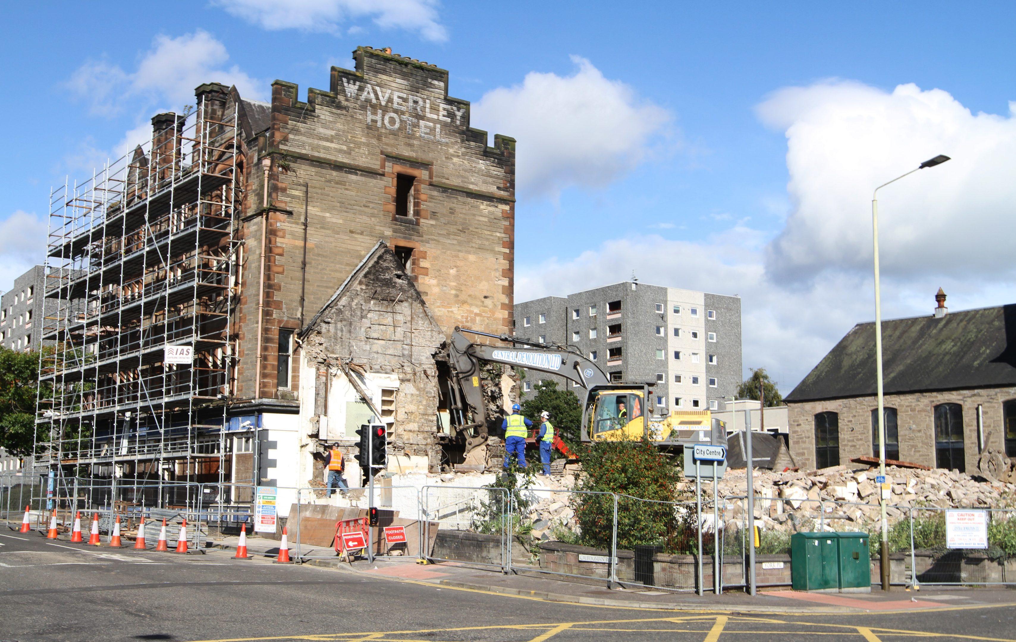 The Waverley Hotel during demolition.