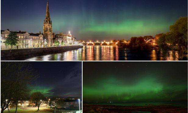 The Northern Lights above Scotland last night.
