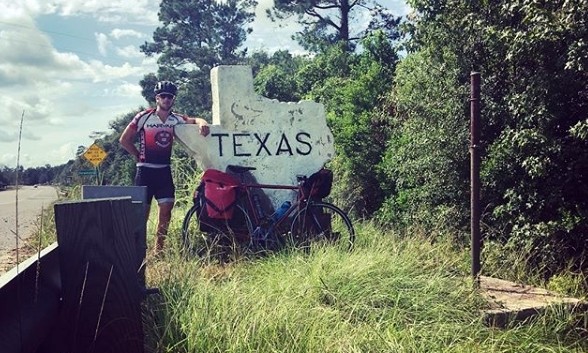 Sam passes into Texas during his epic cycle through America.
