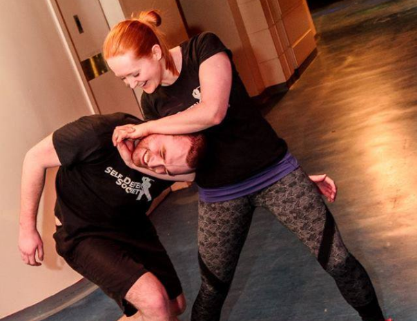 Members of the Dundee University Self Defence Society demonstrating techniques at the student's union building.