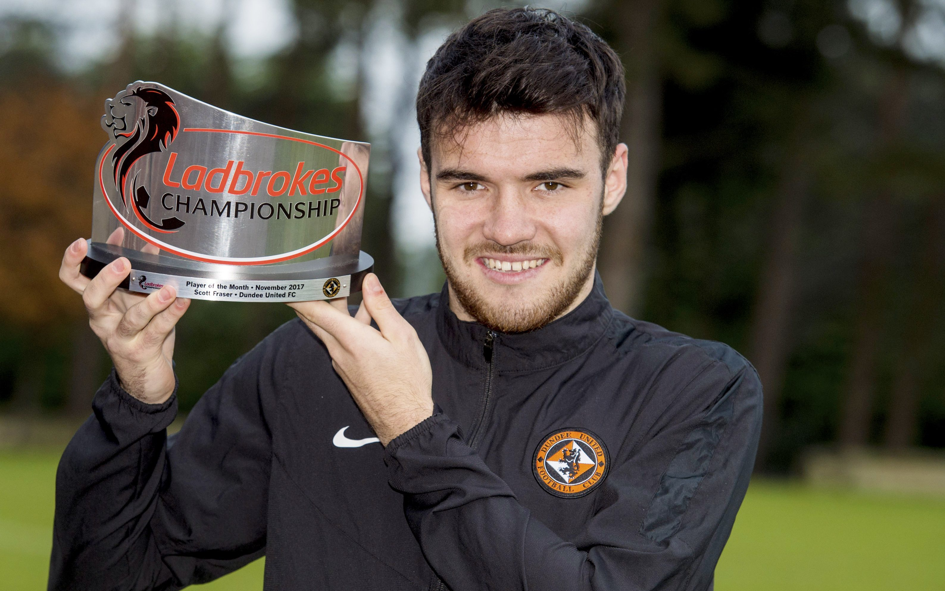 Dundee United's Scott Fraser wins the Ladbrokes Championship Player of the Month Award.