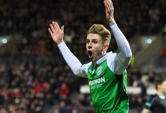Hibernian's Oli Shaw stares in disbelief as his shot is ruled to have not crossed the line.
