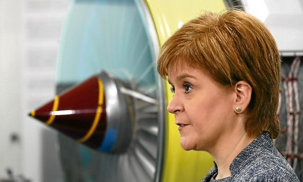 First Minister Nicola Sturgeon announces the new National Manufacturing Institute for Scotland during a visit to Rolls-Royce's plant at Inchinnan