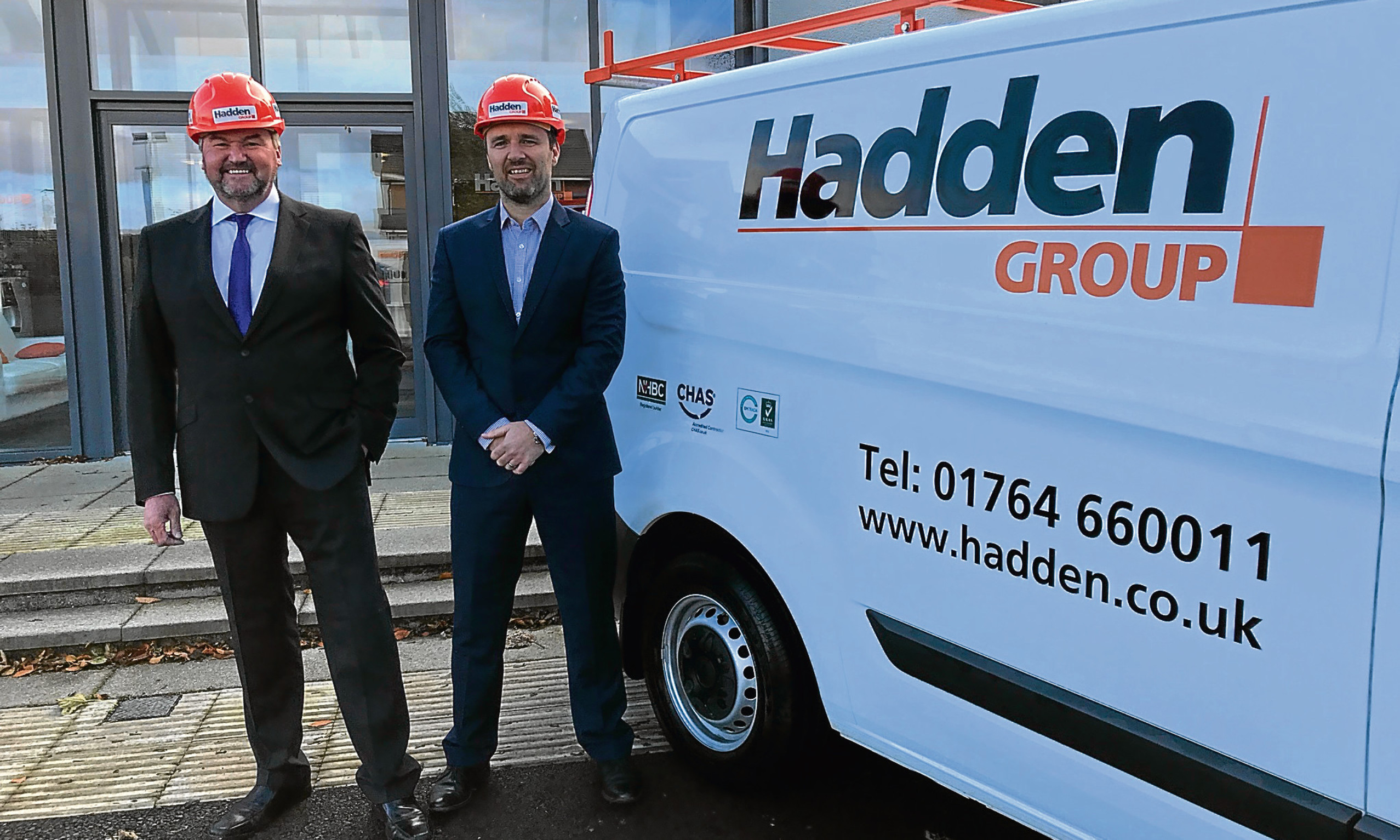 Group chairman Scott Hadden with new manager director Steven Brady.