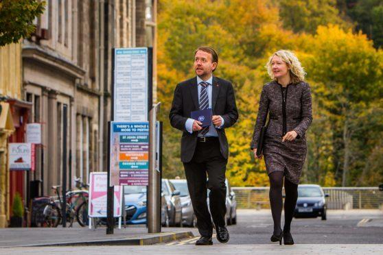 James McKay (Office Manager, Aberdein Considine) alongside Laura Considine, Partner at Aberdein Considine. High Street, Perth.