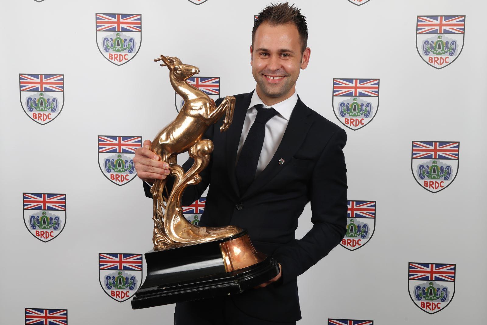 Jonny Adam with the BRDC Fairfield Trophy awarded for his 2017 Le Mans success