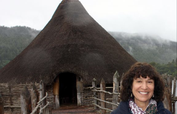 Ms Andrian at the crannog she created with husband Dr Nick Dixon OBE.