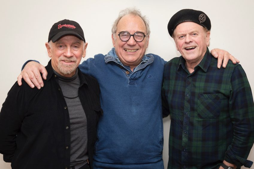 Bruce Findlay with Average White Band's Onnie MacIntyre (left) and Alan Gorrie (right)