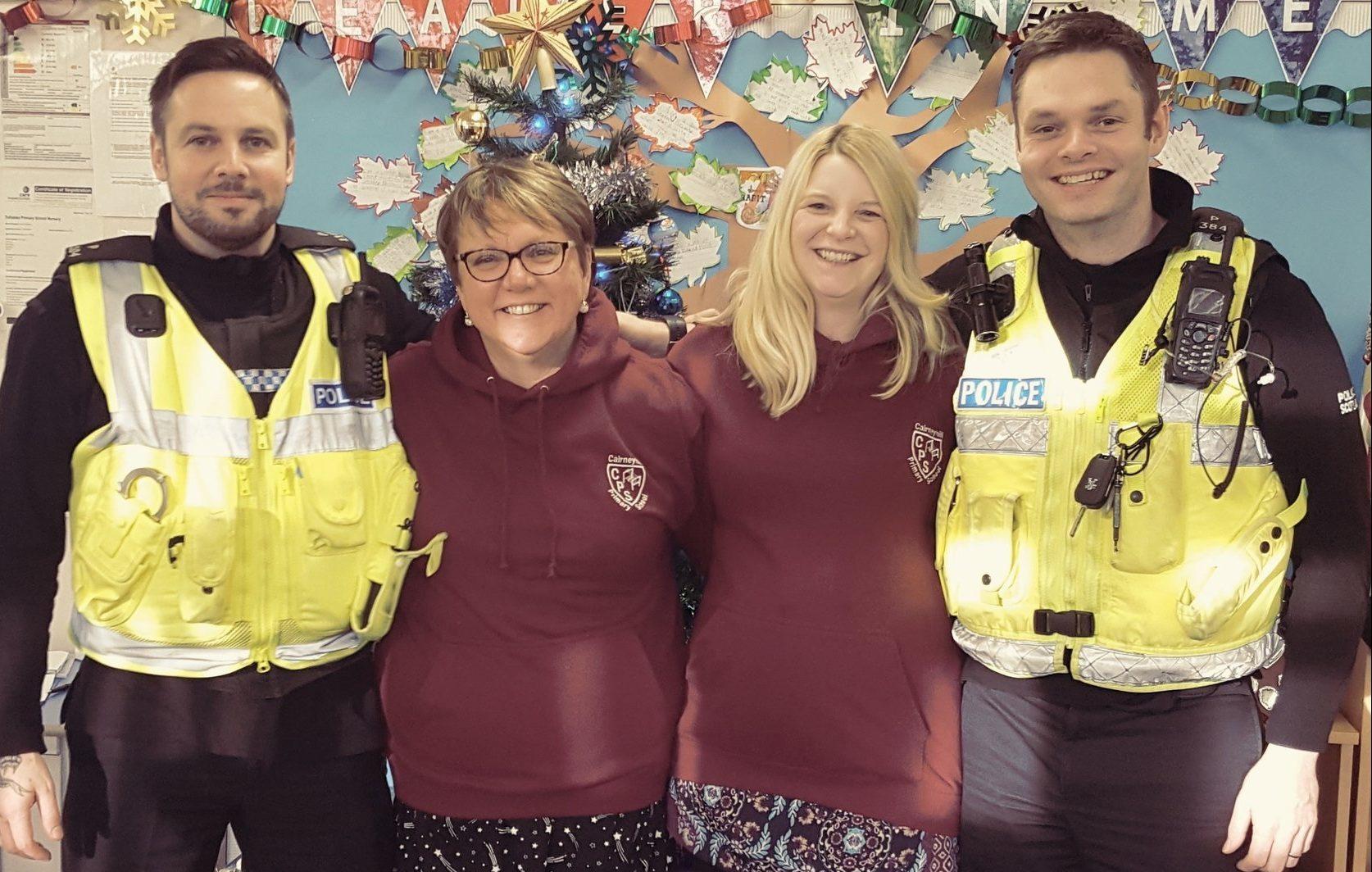 PC Kev Chandler, headteacher Fiona Hall, depute head Georgette Price, and PC Ian Fraser.