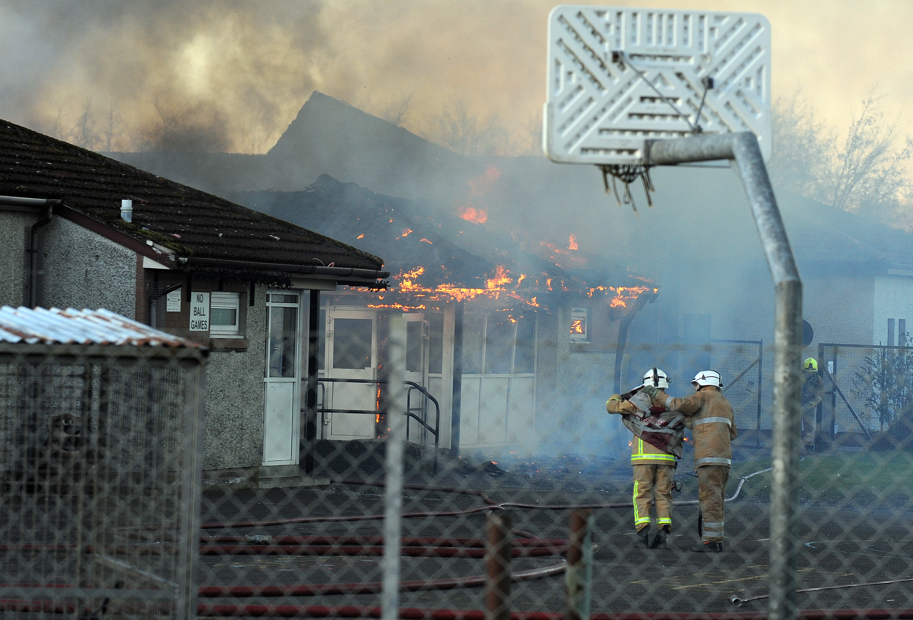 The fire quickly took hold on Friday.