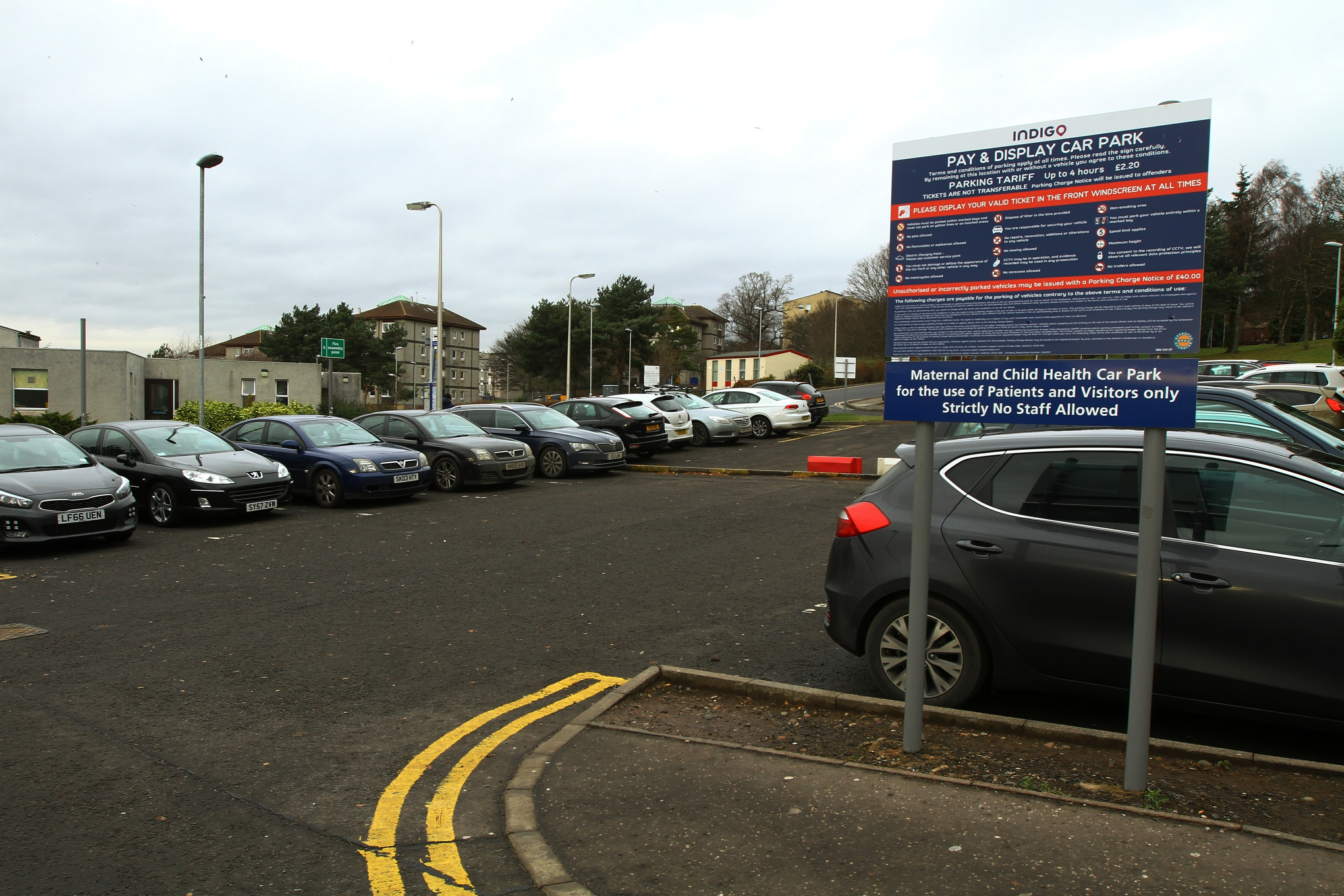 The car park off Kirsty Semple Way. Chris says the fact the other side is only for staff is not clear enough — especially when visitors are likely to be under the stress of worrying for loved ones.