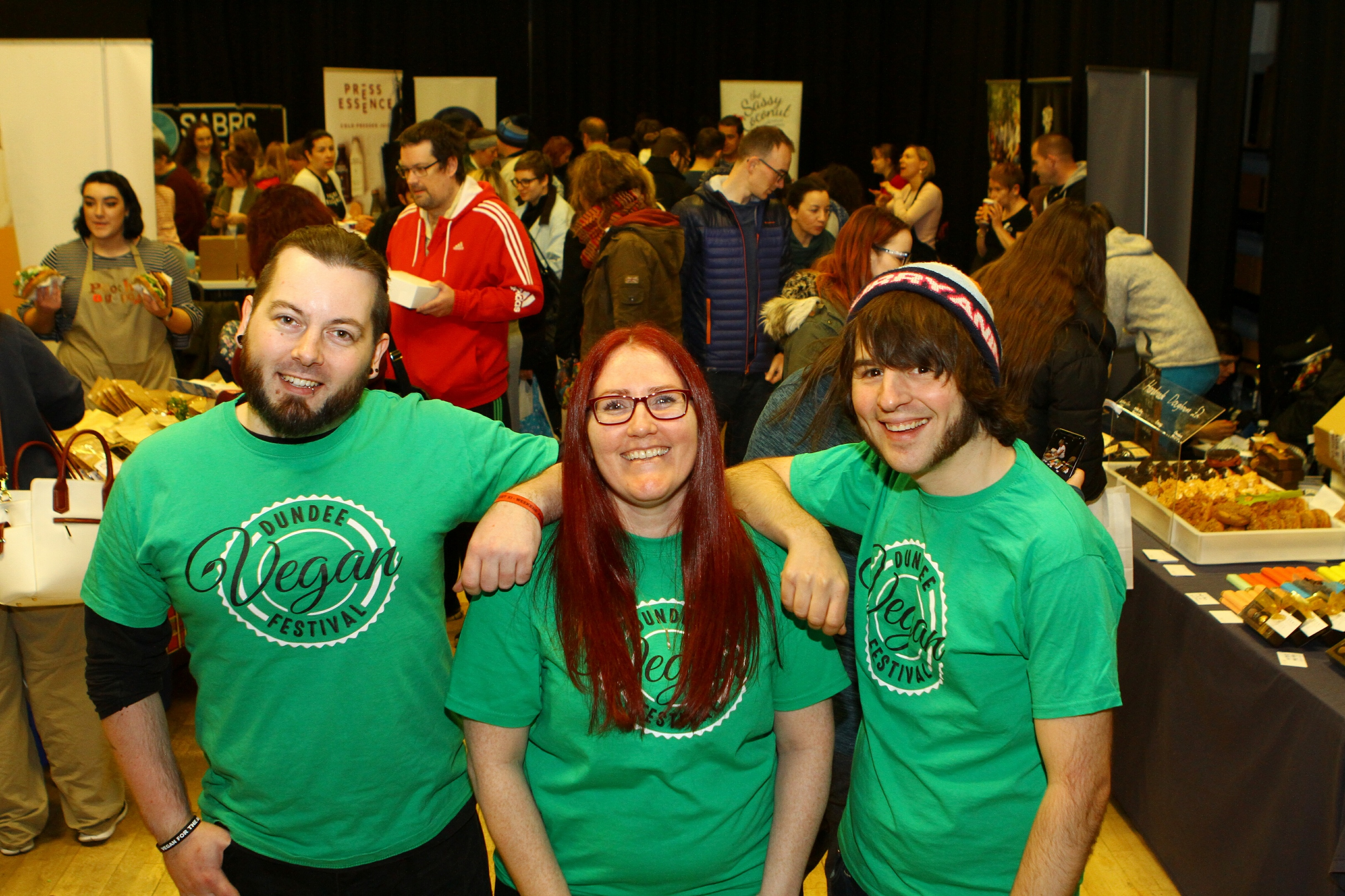 Organisers Barry Conlon, Louise Cormack and Jamie Kidd, at the Dundee Vegan Festival.