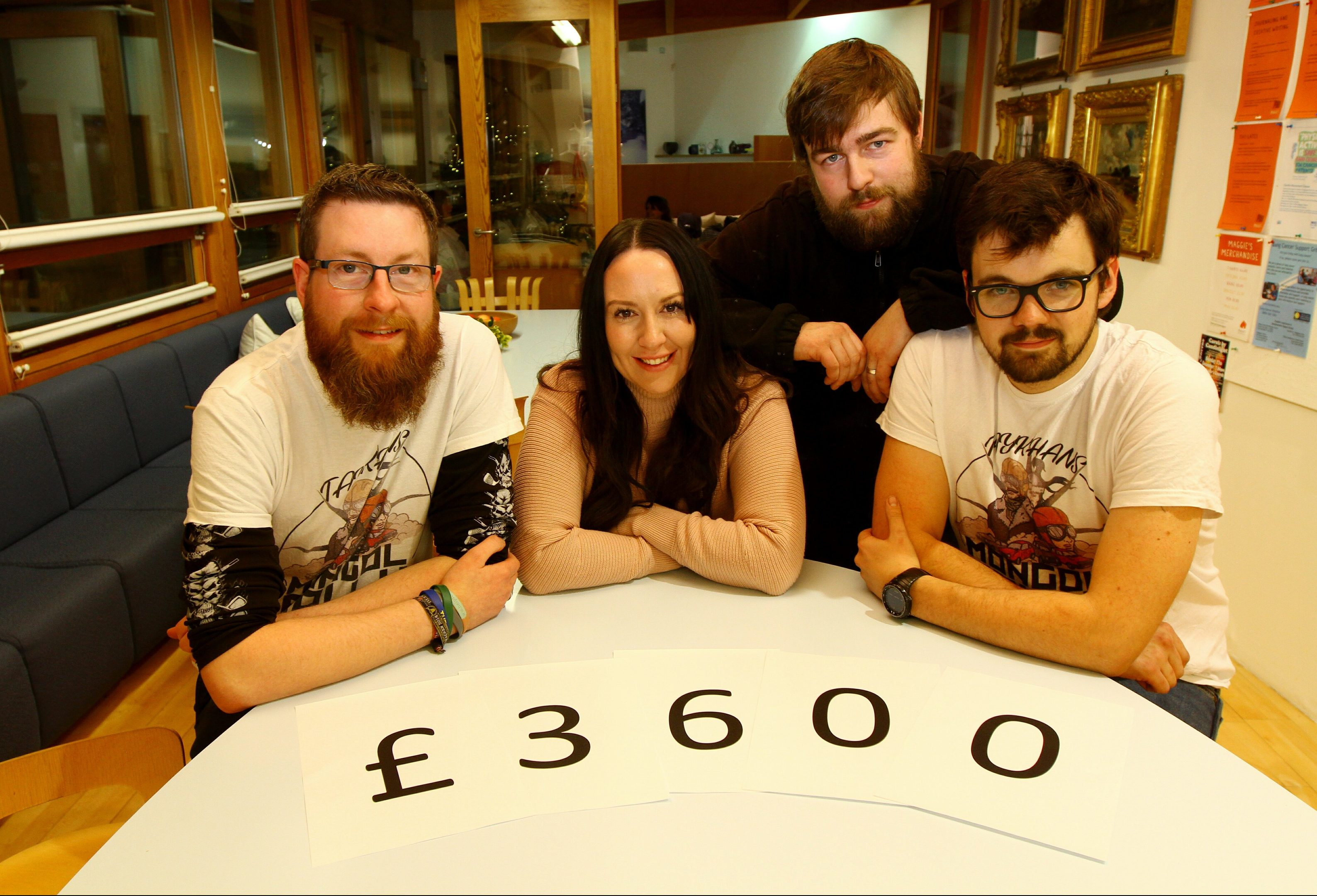 Left to right,  Scott Lauder, Charlene Duncan, fundraising manager at Maggie's Dundee, Euan Simpson and Alan Mann.