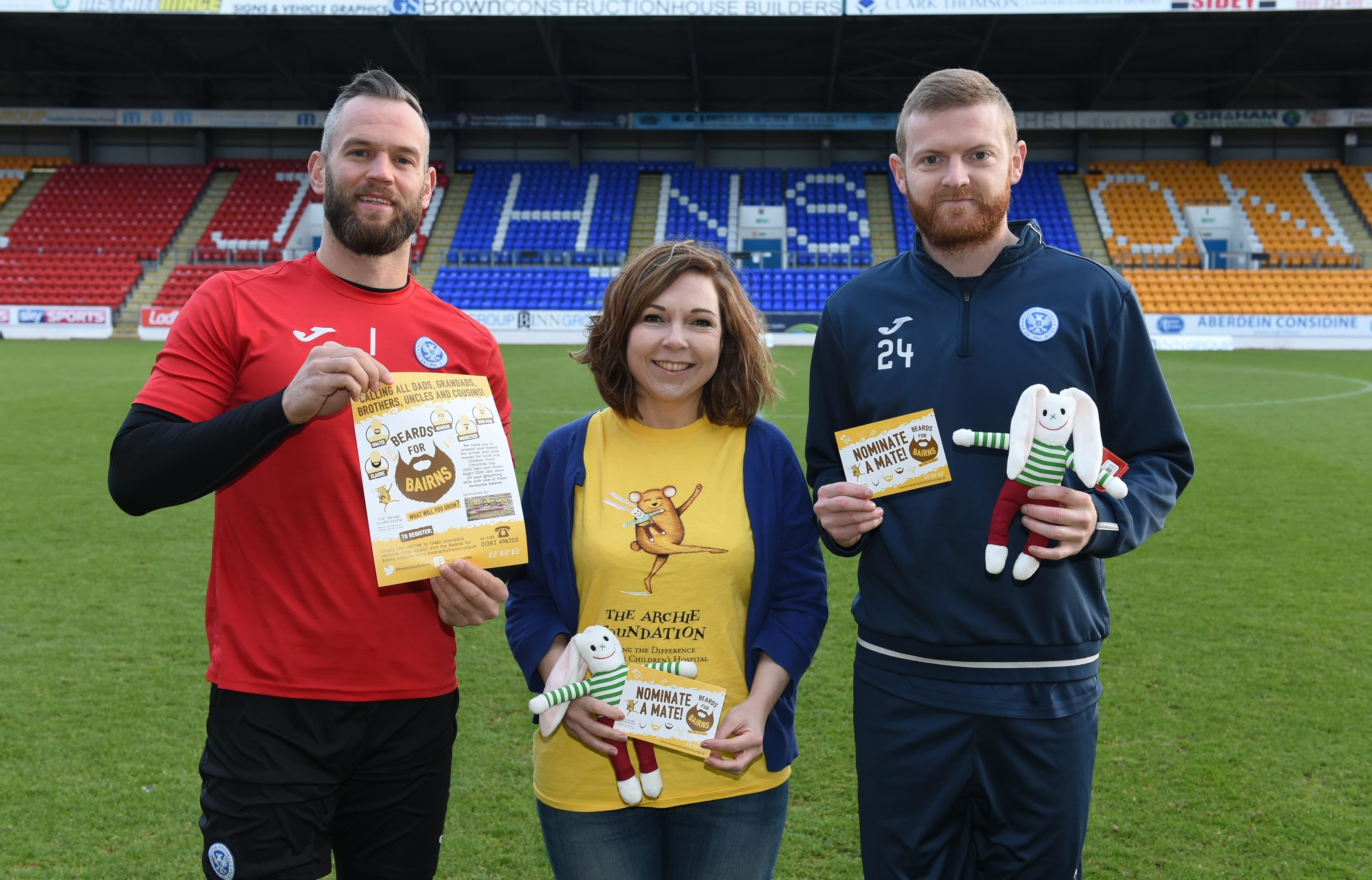 St Johnstone players Alan Mannus and Brian Easton with Emma White, The ARCHIE Foundation head of fundraising.