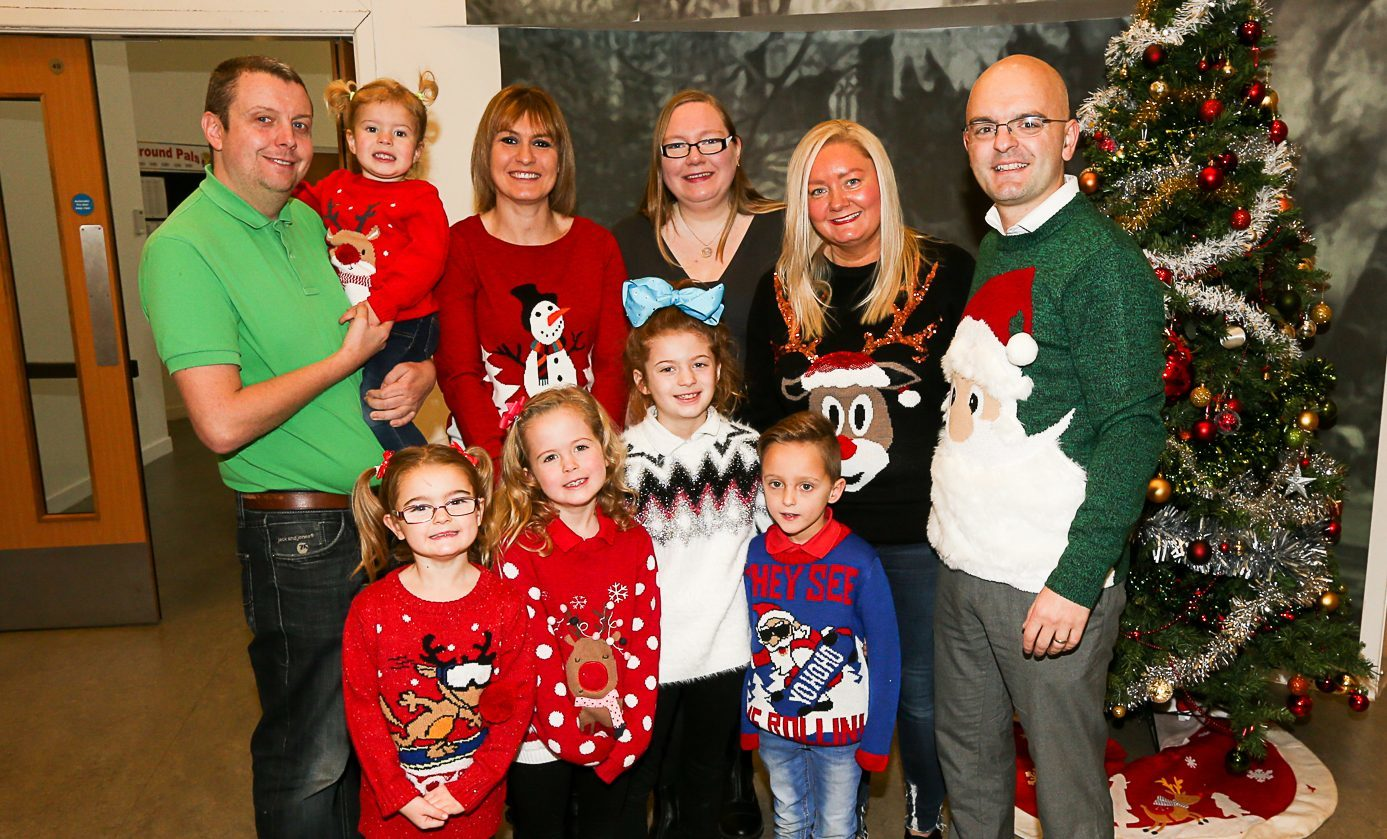 L-R Chris Burke with Lucy Burke, Michelle Burke, Cllr Fay Sinclair, Michelle Meldrum and Stuart Meldrum. Front L-R Scarlett Meldrum, Nicole Burke, Lauren Burke, and David Meldrum.