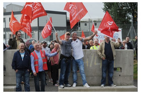 Unite members take to the picket line during a previous industrial dispute at Oceaneering in 2016