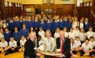 Dave Ramsay, Kincardineshire Lord Lieutenant Carol Kinghorn and Aberdeenshire Provost Bill Howatson joined pupils at the official website launch in November