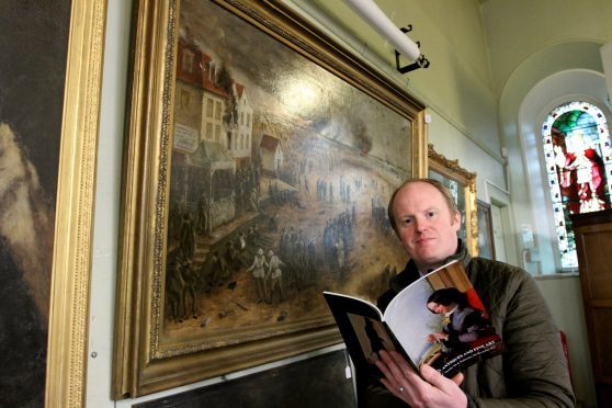 Nick Burns with Dunkirk ,by Winston Churchill's nephew John Spencer Churchill,  for auction at Lindsay Burns Auctioneers in Perth