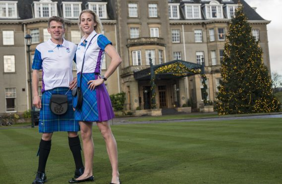 Andy Butchart and Lynsey model the tartan at Gleneagles.