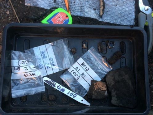Some of the medieval findings from Sunday's dig at the Howff