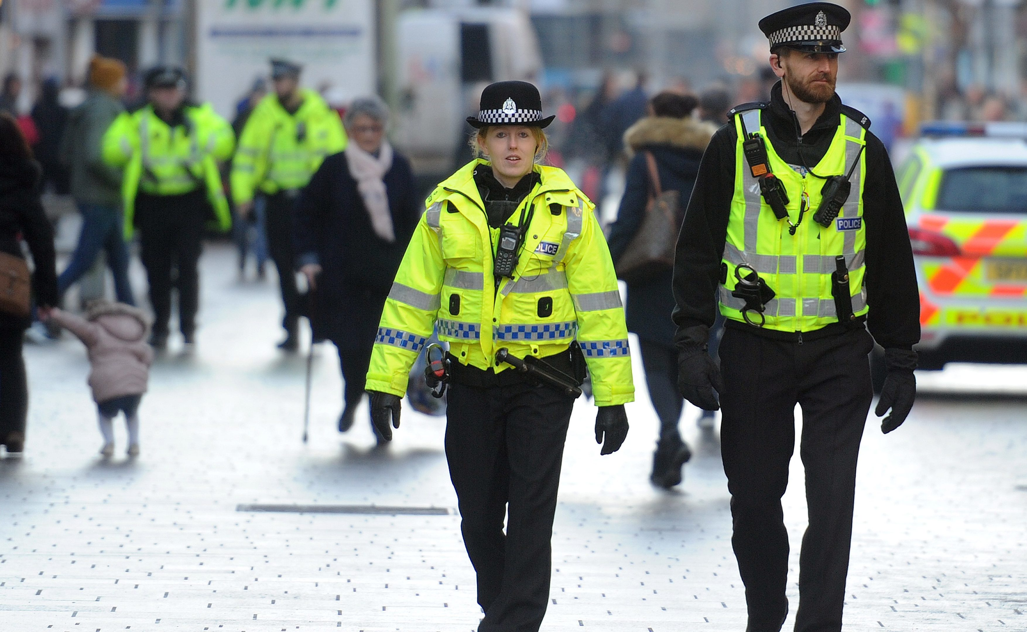 Police out on patrol in Perth city centre.