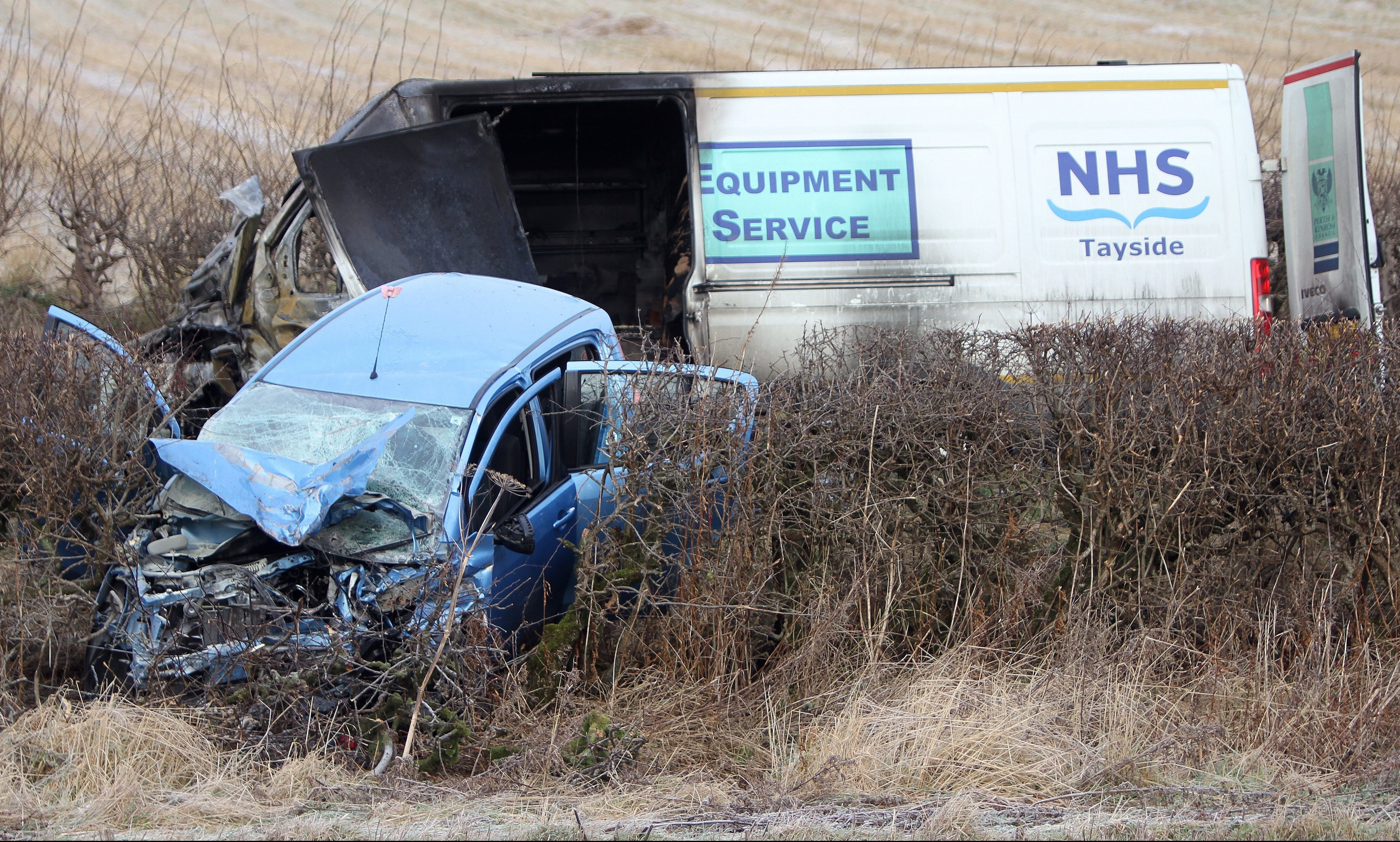 The aftermath of the crash on the A85 west of Methven.