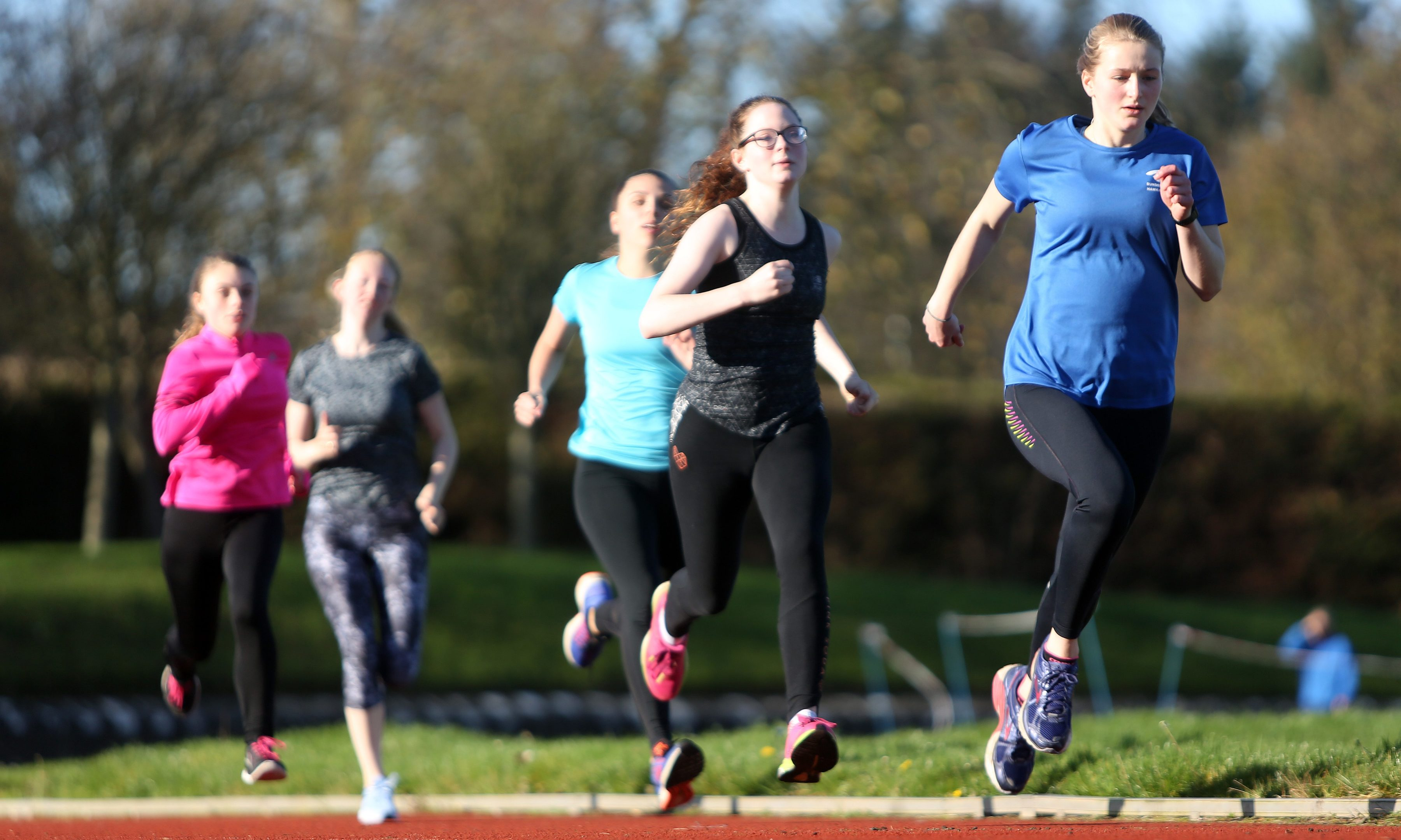 A Hawkhill Harriers youth training session at Caird Park.