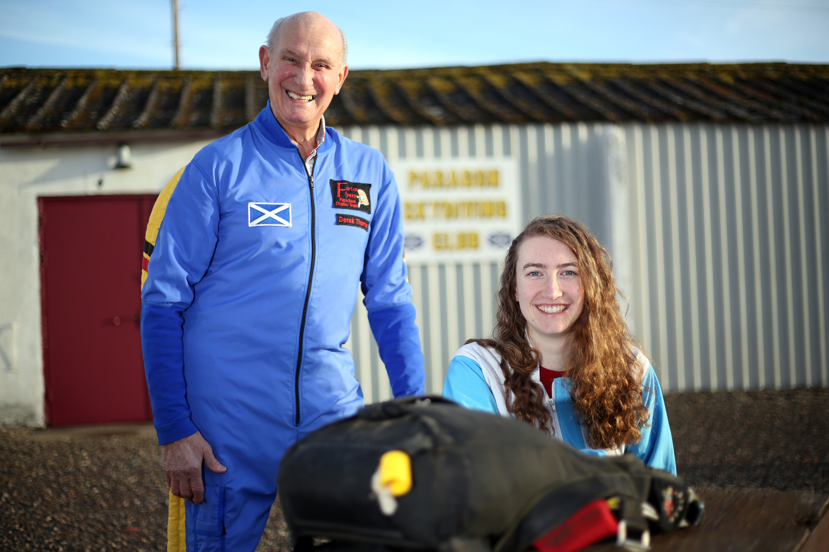 Courier News. Scott Milne story. Scotland's oldest skydiver, Derek Thorne is sponsoring Deborah Garland, who is doing a jump to raise money for the Salvation Army Building Fund next year (March 3rd is proposed date). Pic shows; Derek Thorne giving Deborah Garland some poointers. Thursday, 22nd December, 2017.