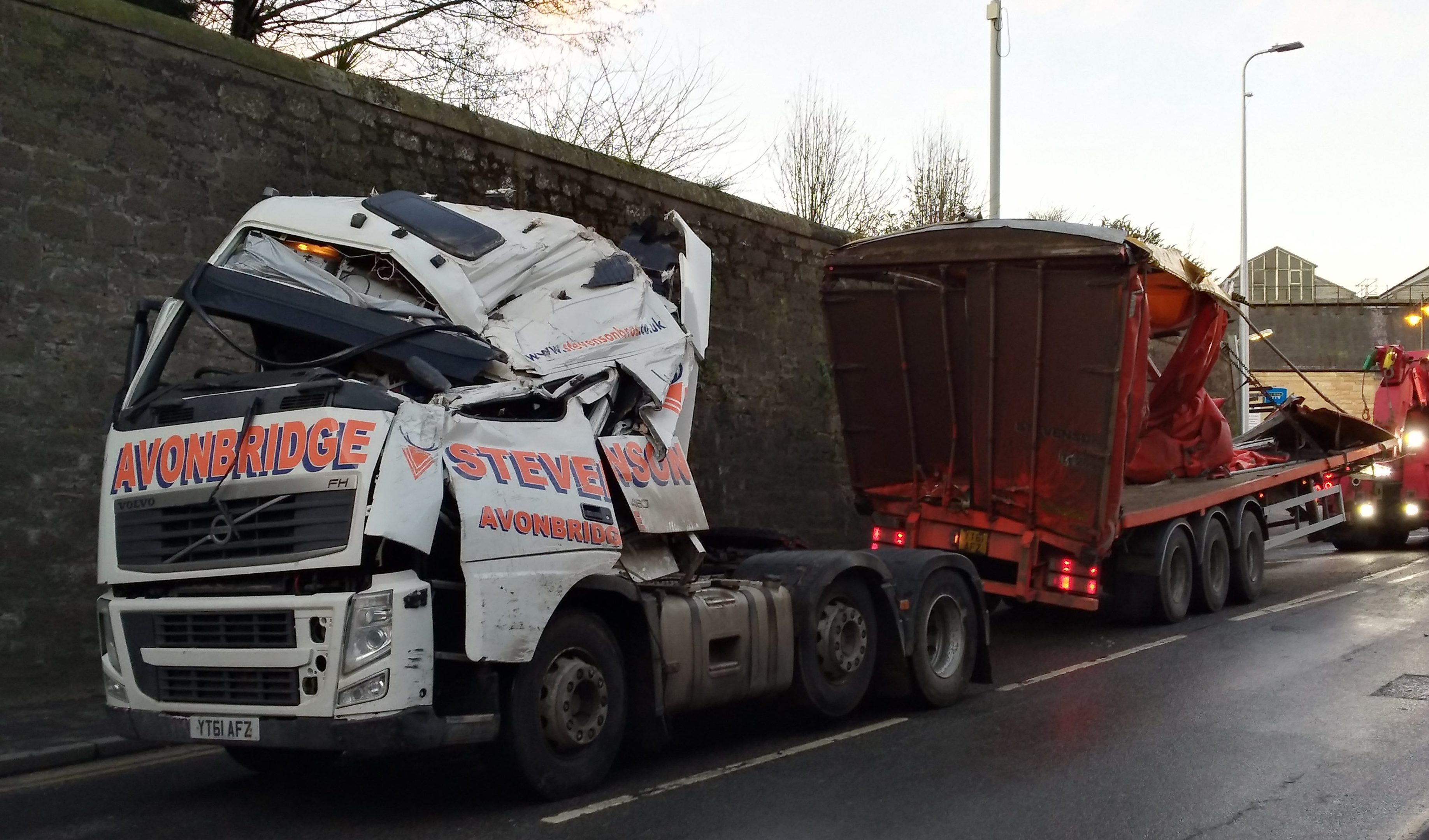 The damaged lorry near Perth rail station.