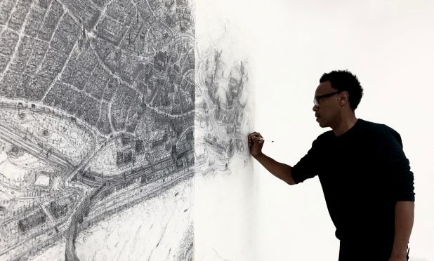 Carl working on the sketch of Dundee.