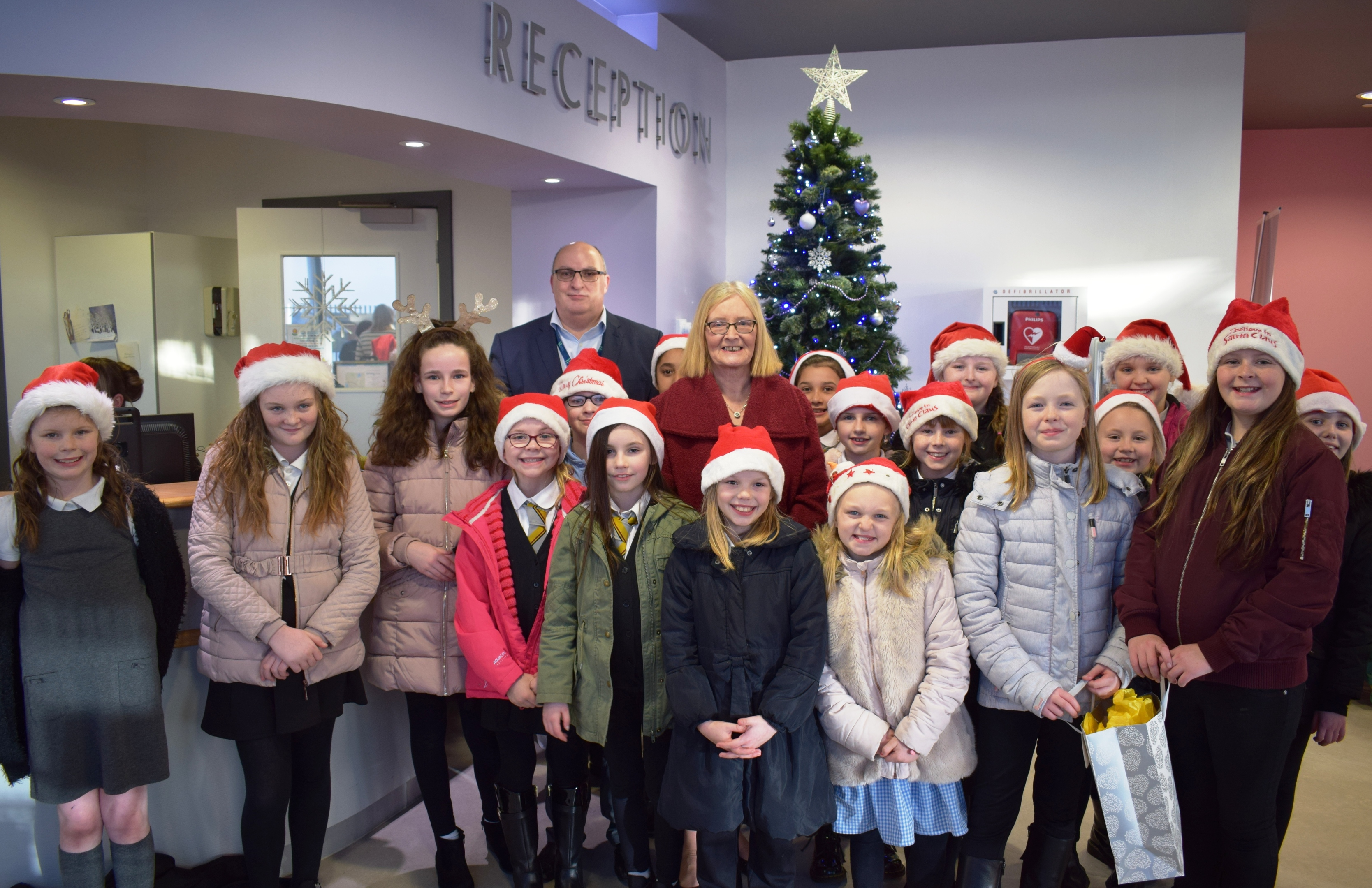 The pupils along with Paul Hawkins and Tricia Marwick.