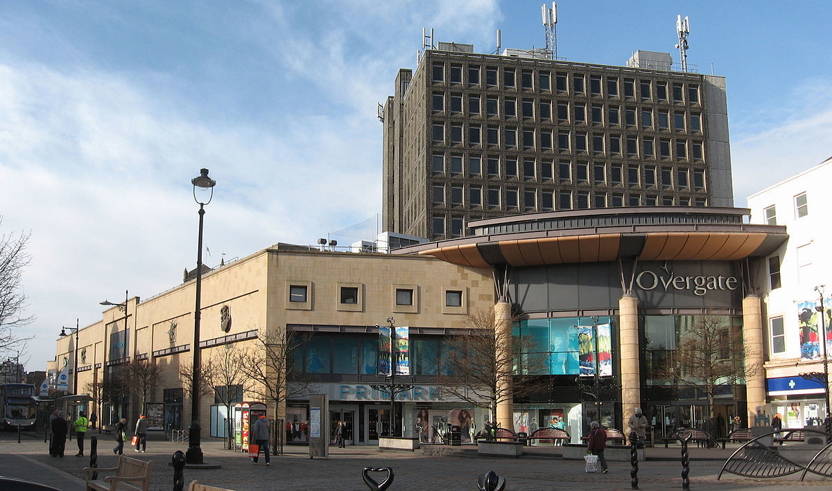 The 10-storey office block (pictured in the background) towers above the Overgate Shopping Centre