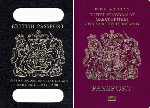 Composite picture of an old British passport (left) and a burgundy UK passport in the European Union style format.