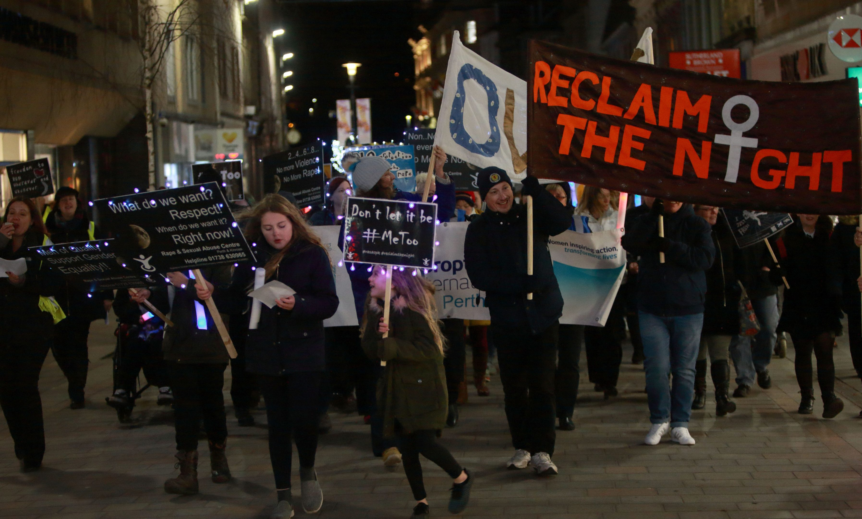 The Reclaim the night march through Perth, which was partly organised by the local RASAC team, in 2017.