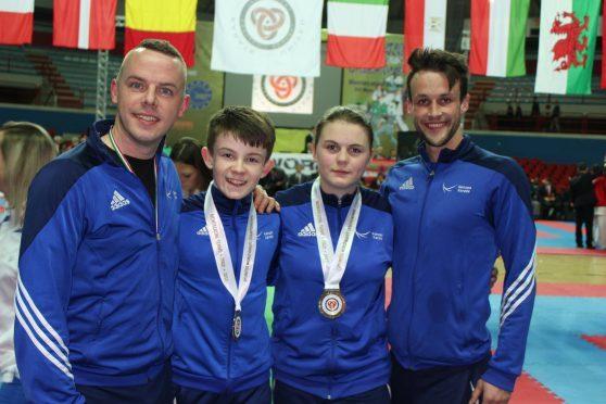 Roy O'Kane (coach), Oliver Bruce, Leah Dunn and Dan Woods (coach)