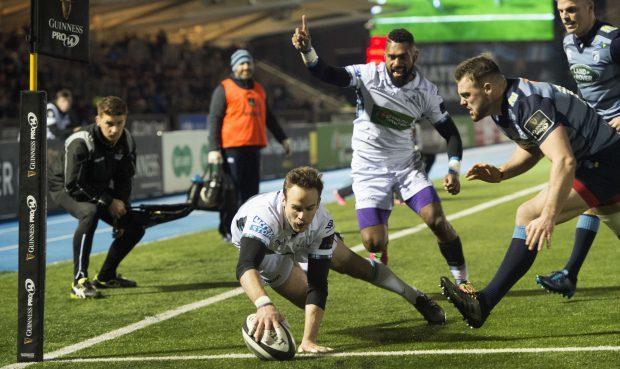 Ruaridh Jackson scores Glasgow's third try against the Blues.