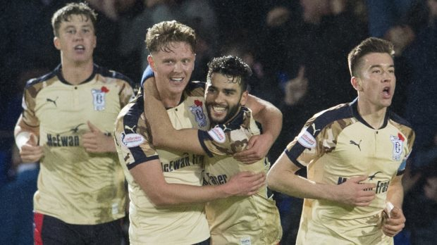 Dundee's Faissal El Bakhtaoui (second from right) celebrates his goal with his team mates