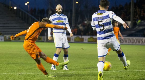 Billy King fires in his first goal.