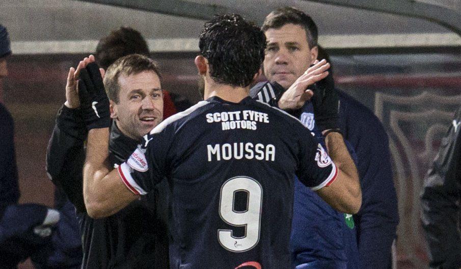 Sofien Moussa celebrates with boss Neil McCann.