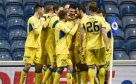 The St Johnstone players celebrate their third goal at Ibrox.