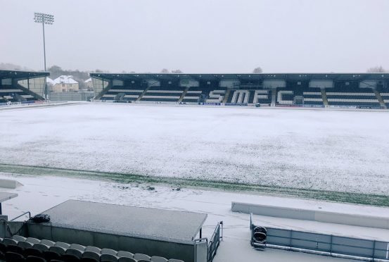 St Mirren Park in the snow on Friday morning.