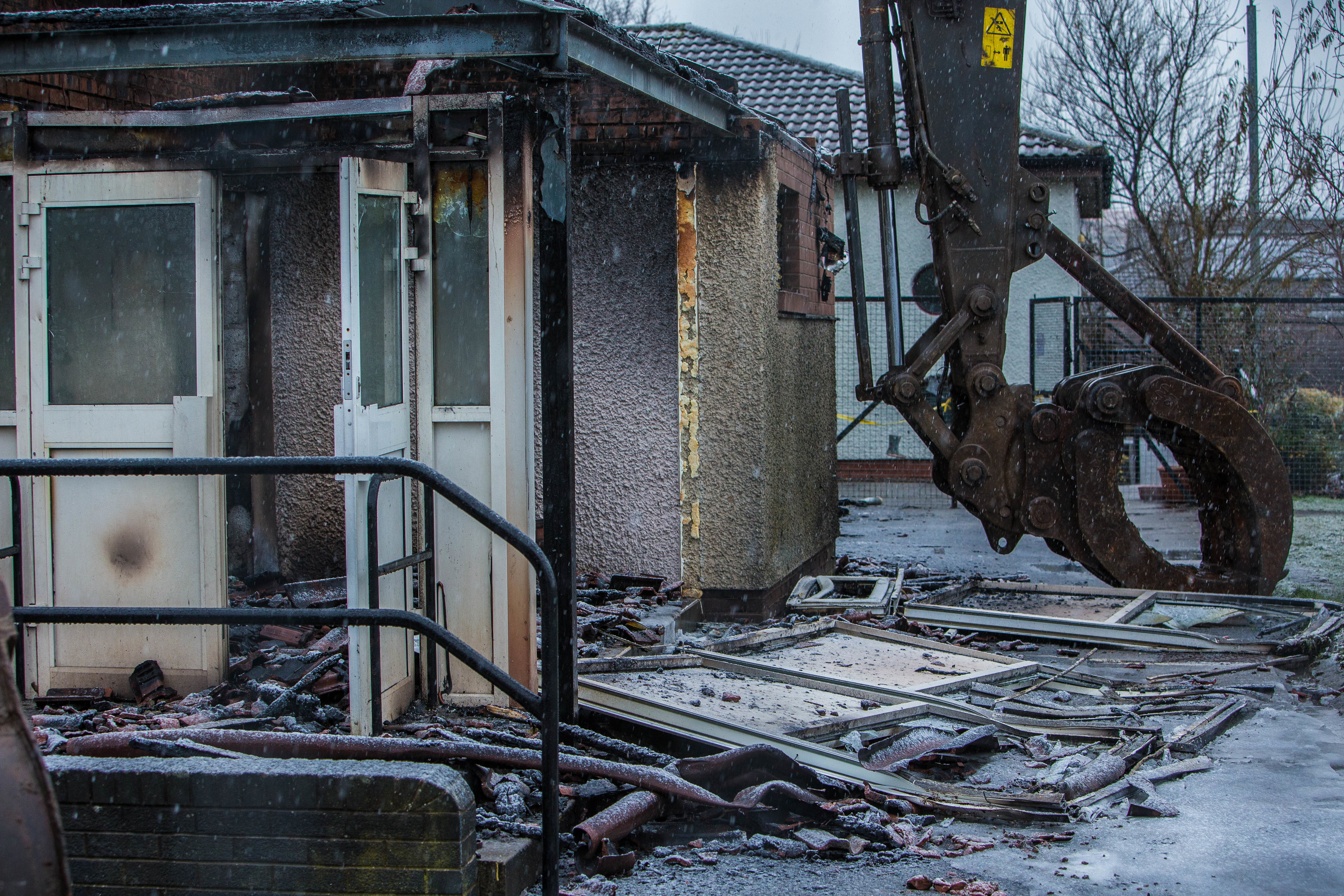 The demolition crew on site at Cairneyhill Primary School in December 2017.