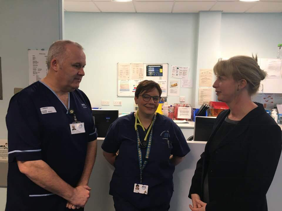 Shona Robison MSP (right) with Ninewells Hospital staff (file pic)