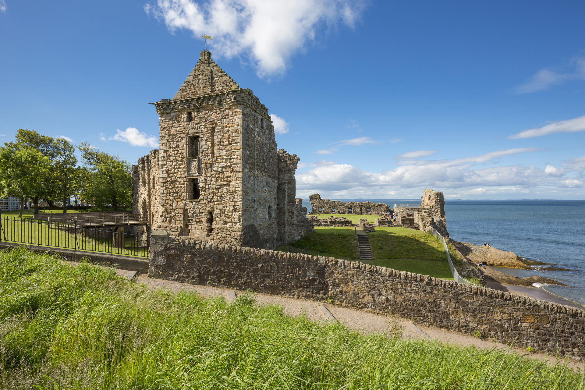 St Andrew's Castle in the Royal Burgh of St Andrews. The castle sits on a rocky promontory overlooking a small beach called Castle Sands.