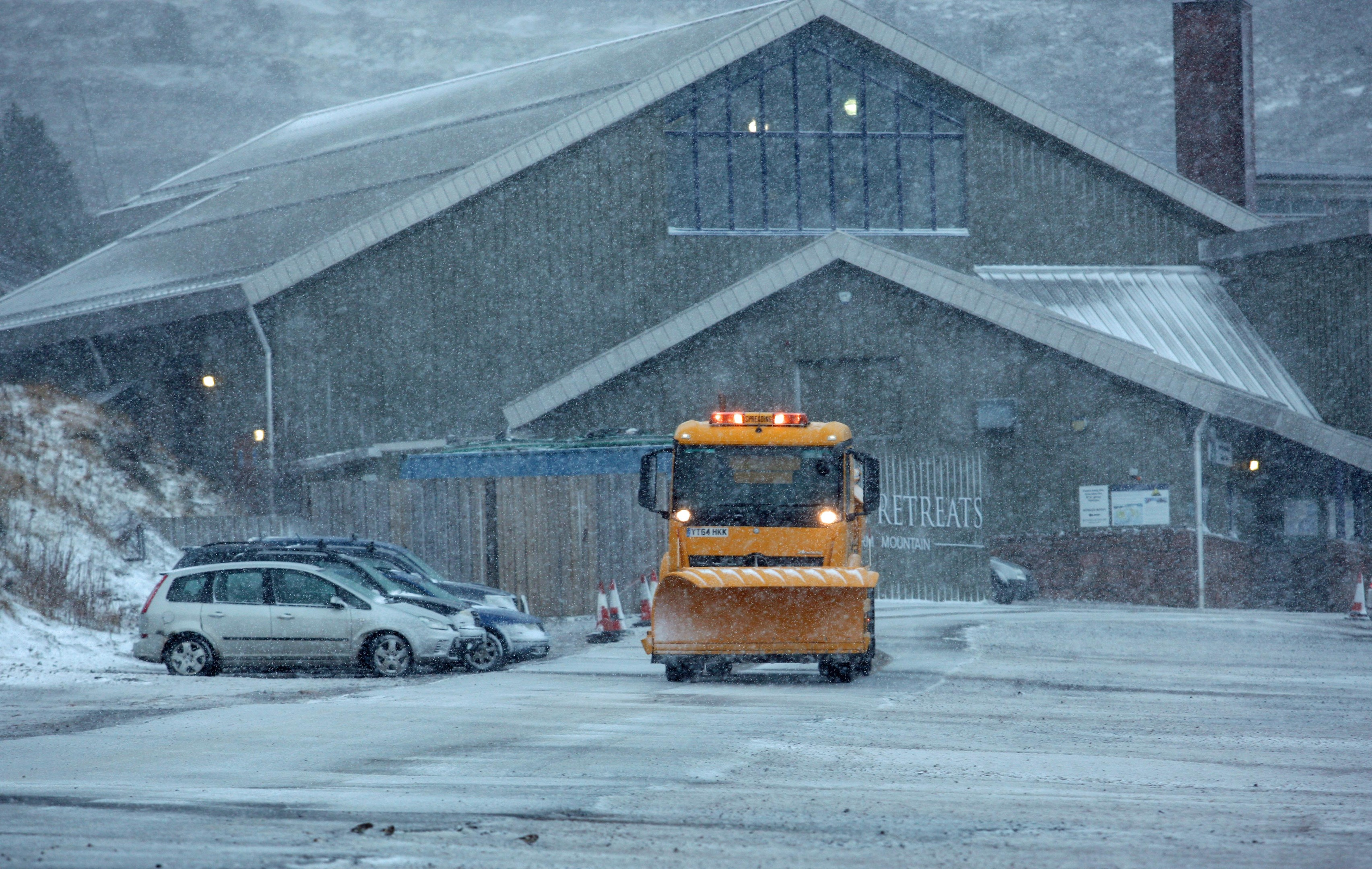 Storm Caroline: A snowplough in a blizzard in the Cairngorm National park as winds hit 120mph.