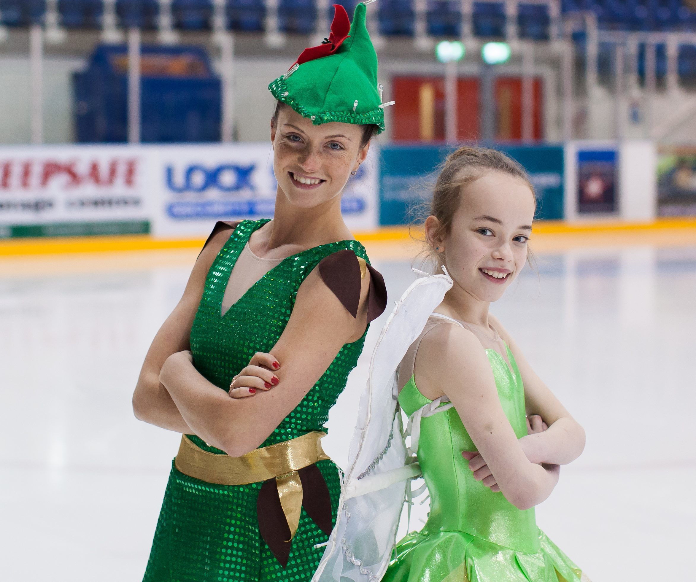 Senior ladies British figure skating champion Natasha McKay as Peter and Lucy Hay as Tink